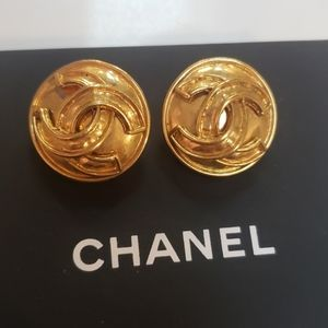 Authentic Chanel Logo Clip on Earrings